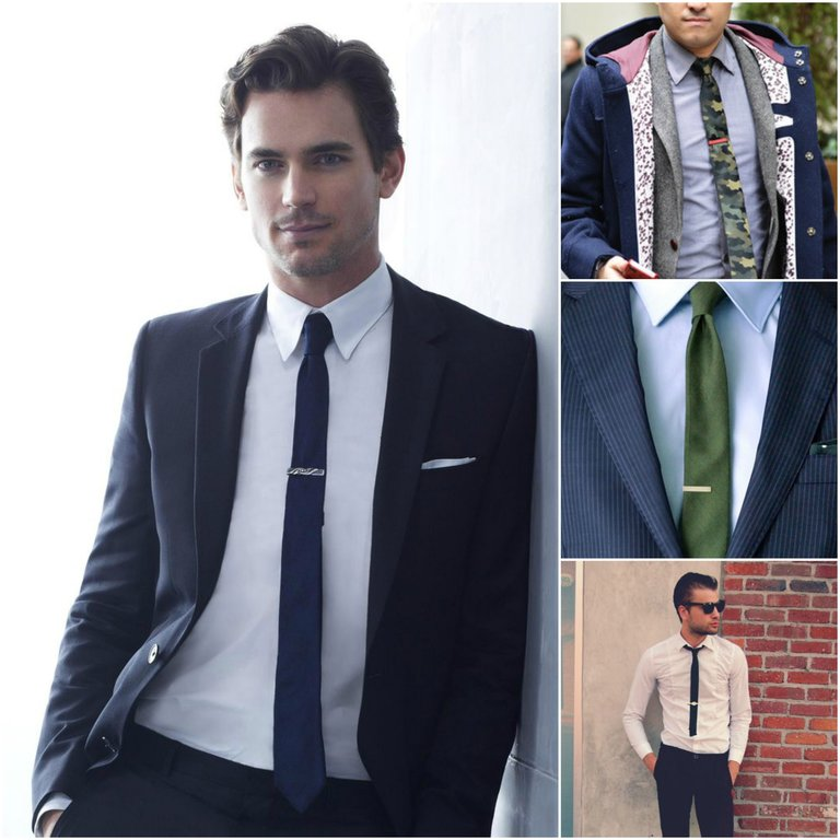 outfit grid mens skinny tie with clip