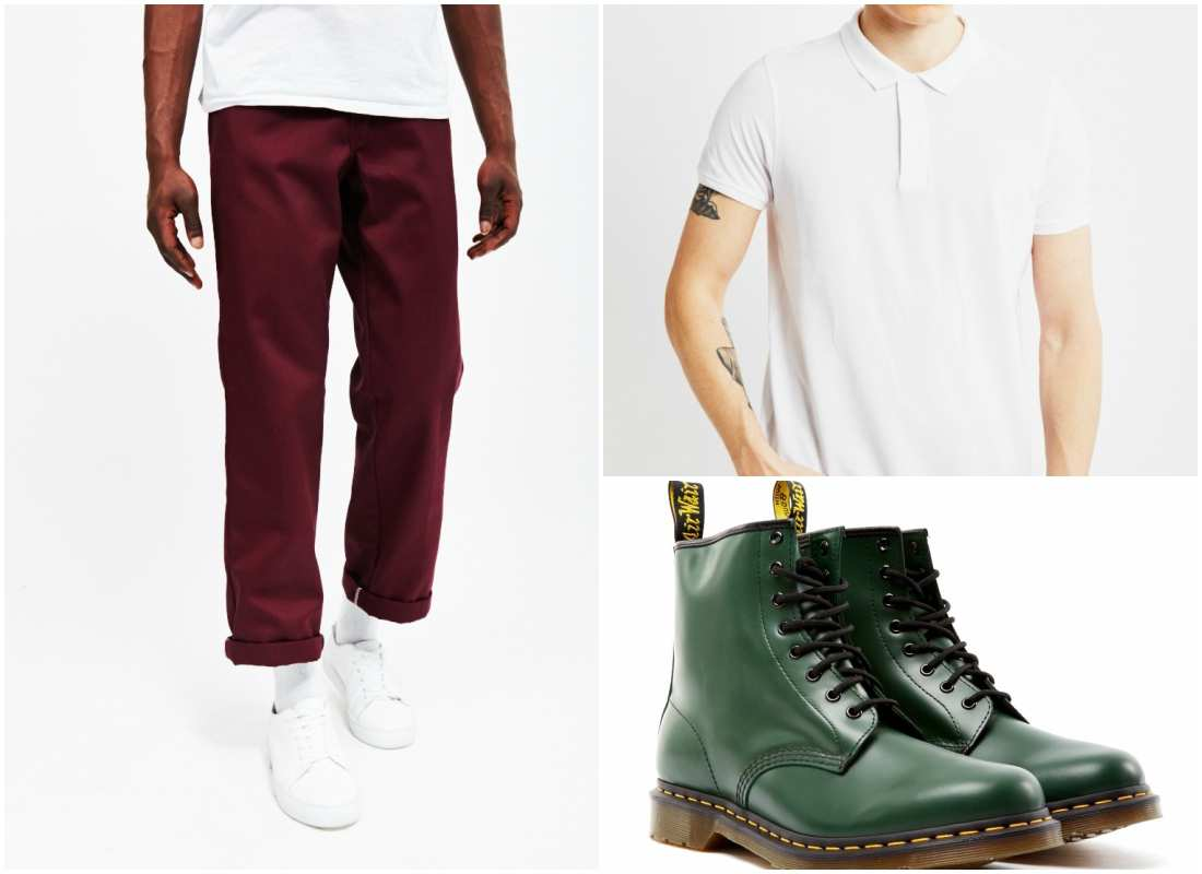 outfit grid red green men clothes