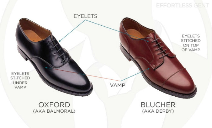 oxford blucher derby differences
