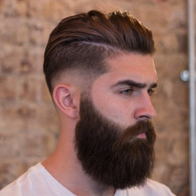 mens parted pompadour full beard