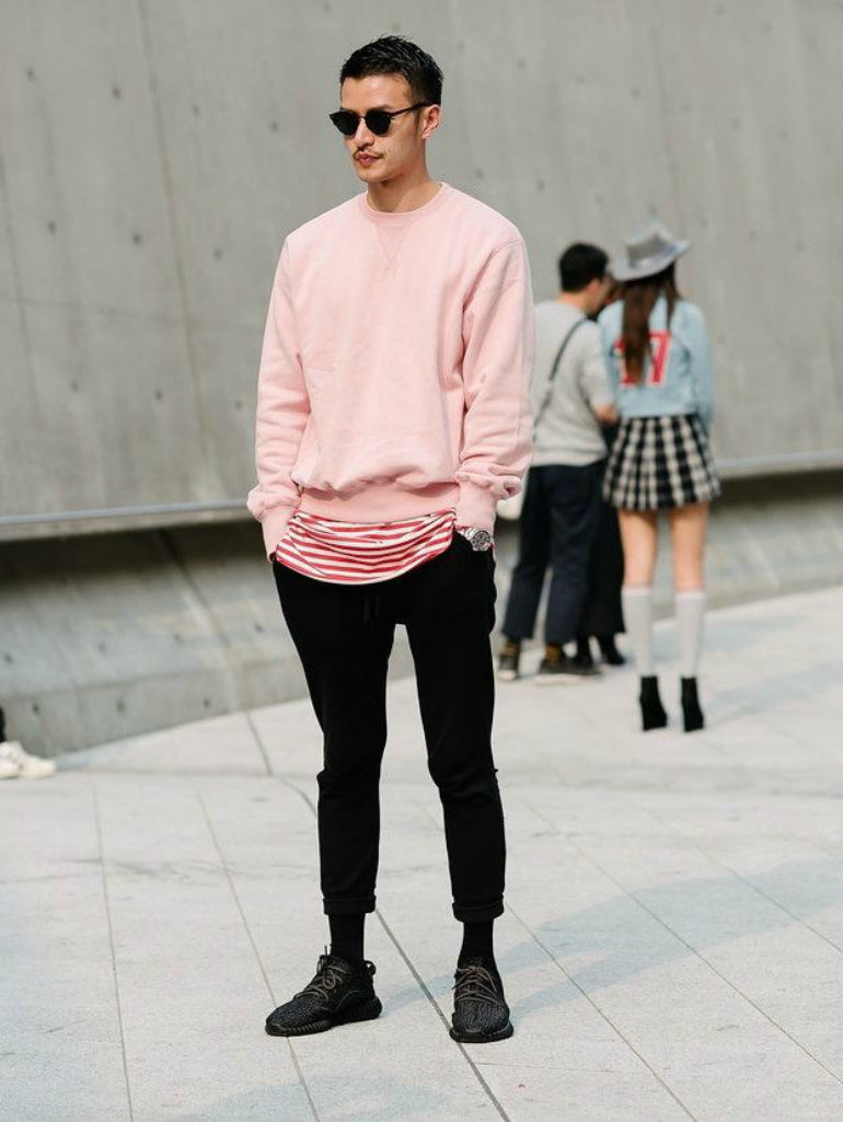f25e3d0b579 ... pink jumper mens street style how to wear pink for men