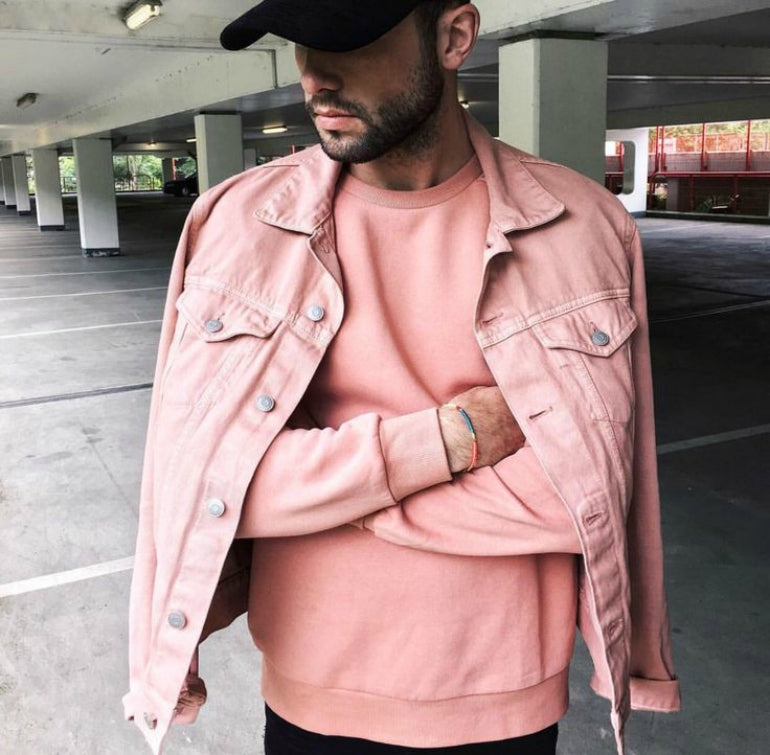 pink sweatshirt mens street style how to wear pink for men