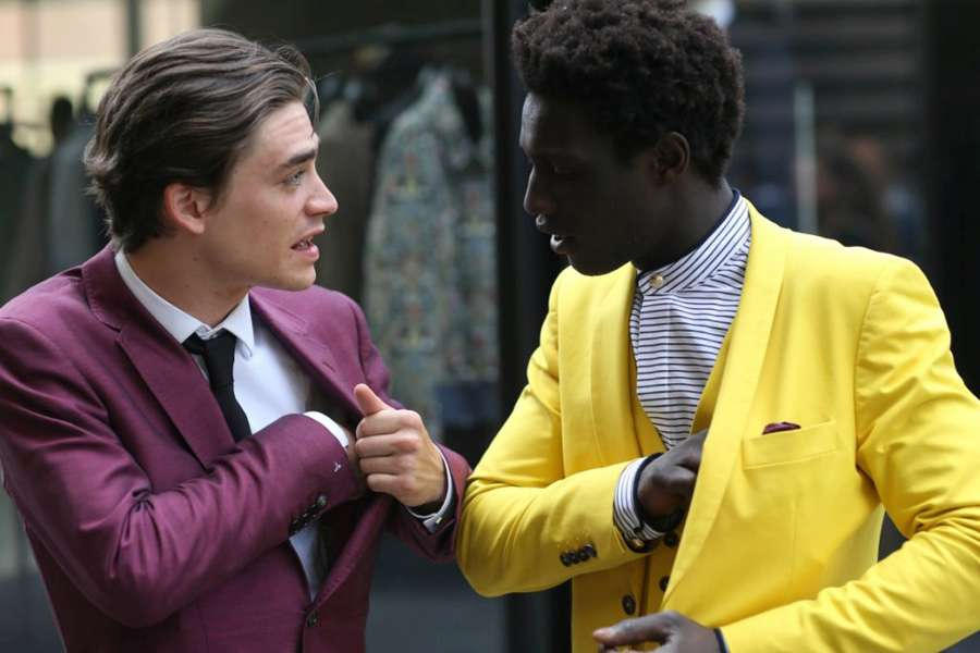 pitti uomo mens street style burgundy suit yellow suit mens street style pitti uomo