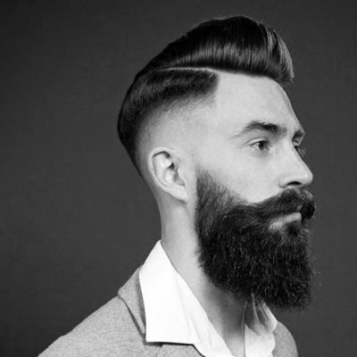 mens pompadour fade with beard