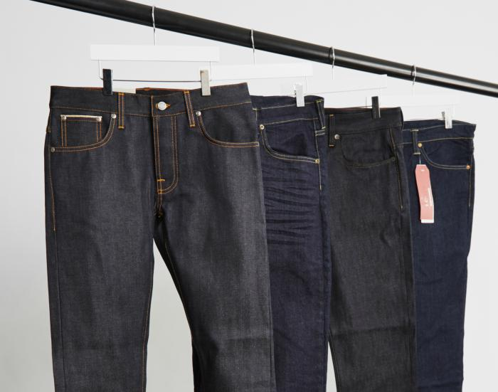 raw denim jeans in varying colours