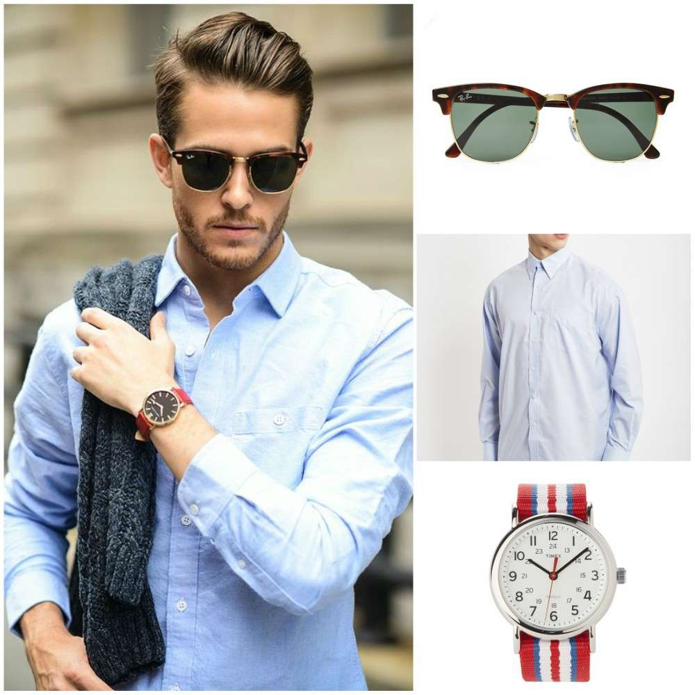 ray-ban glasses striped watch blue oxford shirt outfit grid