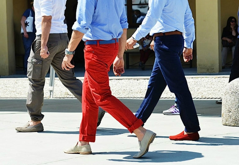 red chinos blue shirt mens street style