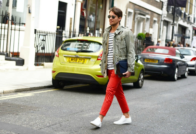 red chinos striped shirt mens street style