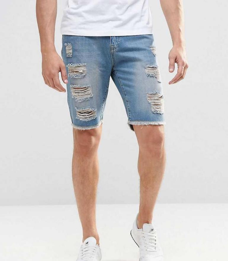 ripped and faded mens shorts denim