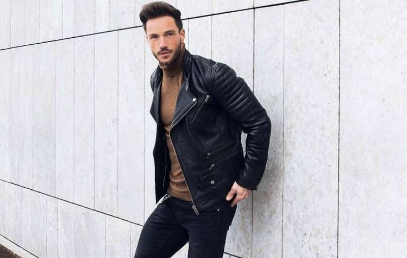 roll neck with leather jacket men