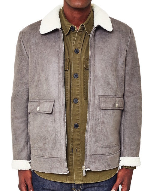 mens grey shearling jacket the idle man