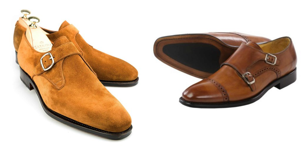 tan suede brown leather Monk strap double single shoes