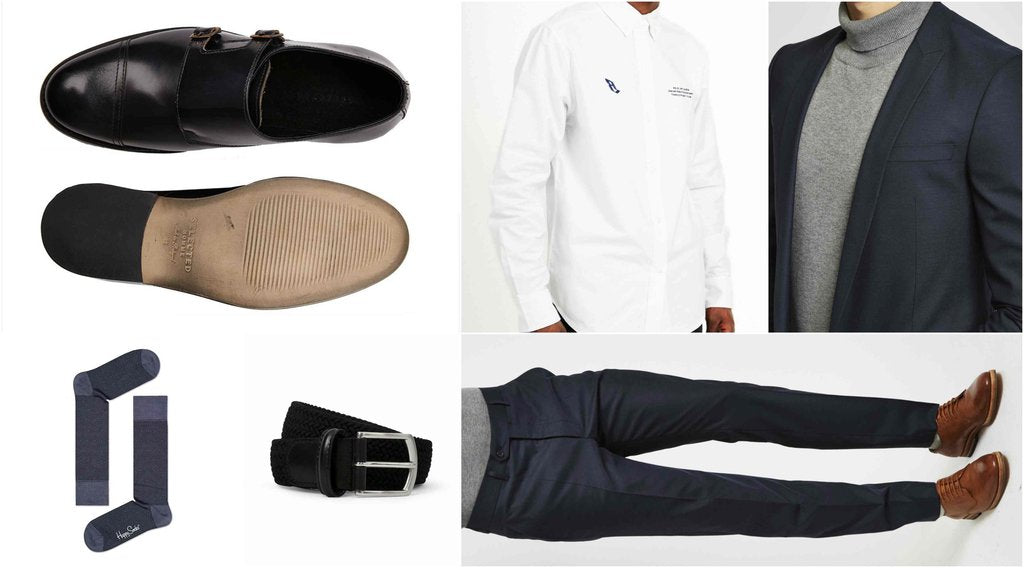 mens monk strap shoes work outfit grid