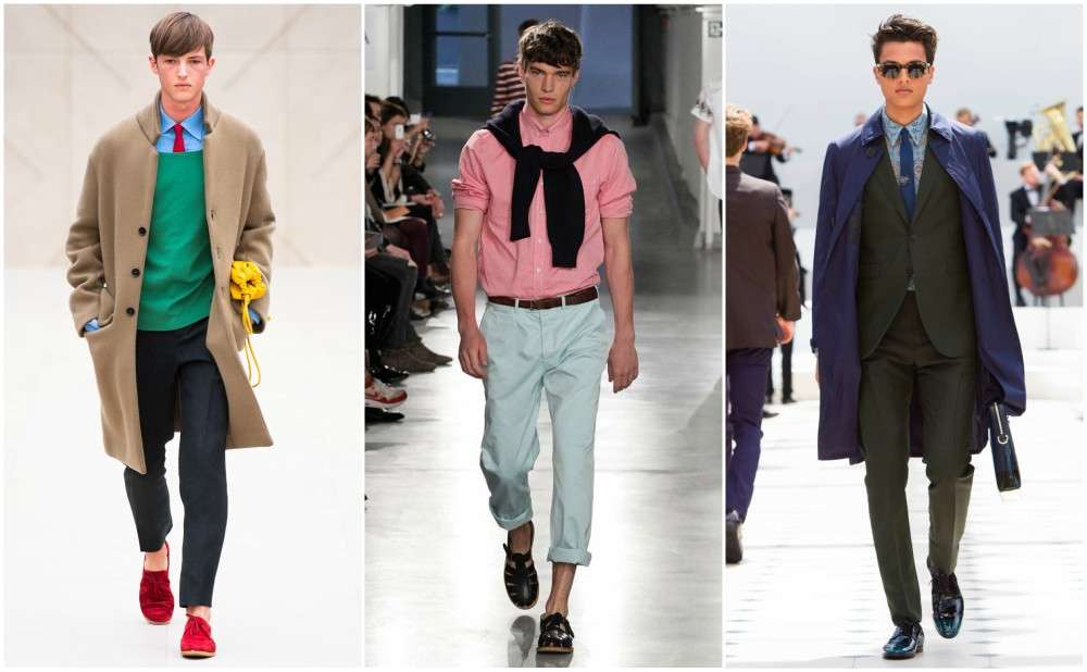 runway green jumper red tie red shoes chinos pink shirt blue trench men models
