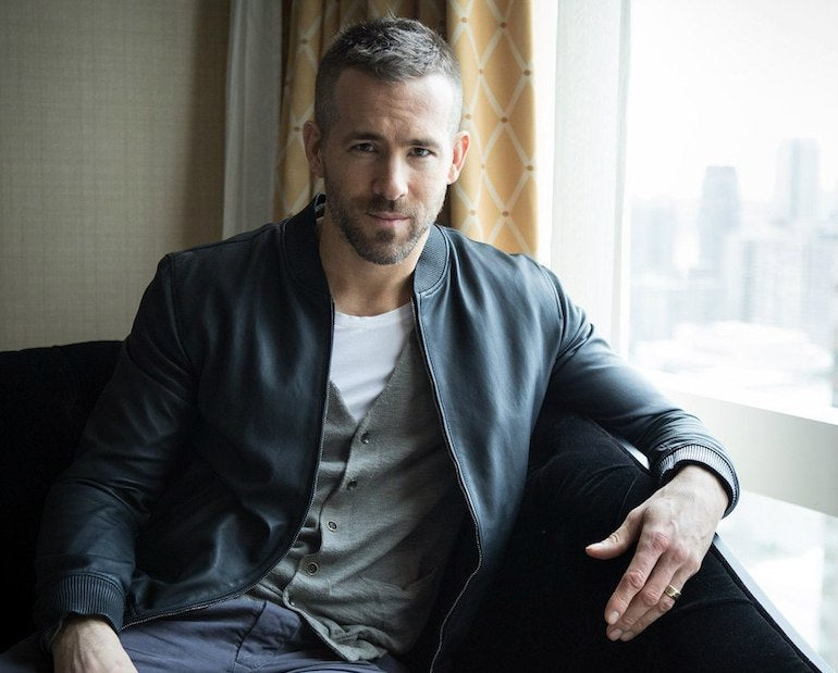 ryan reynolds leather bomber jacket mens
