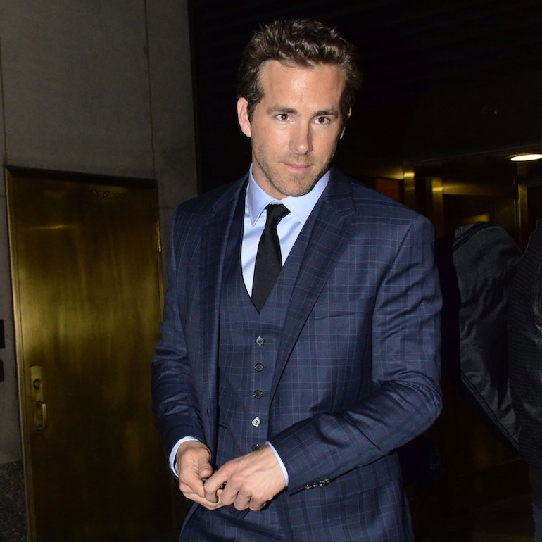 ryan reynolds mens blue three piece suit