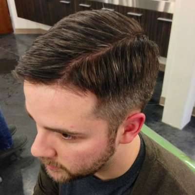 mens scissor fade comb over brown hair