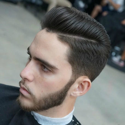 mens scissor fade pompadour black hair