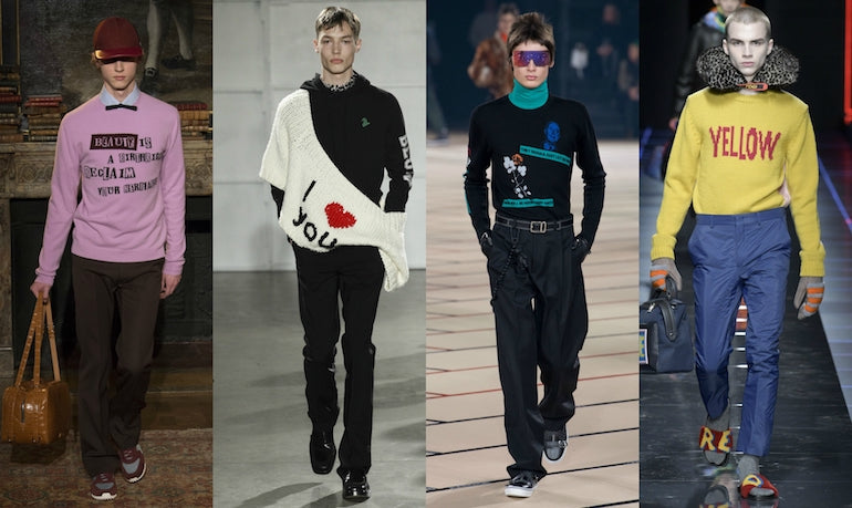 sewn in slogans mens trend aw17
