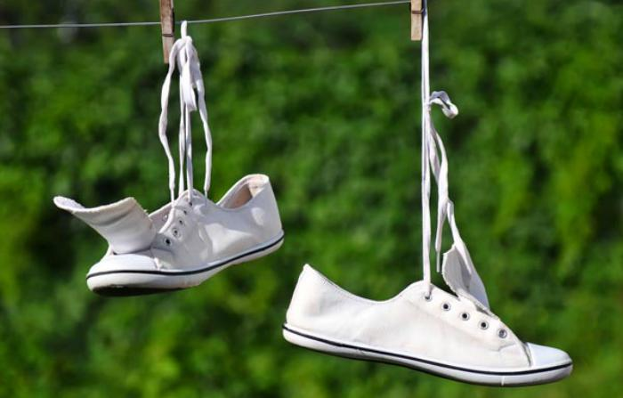 shoes drying on a washing line