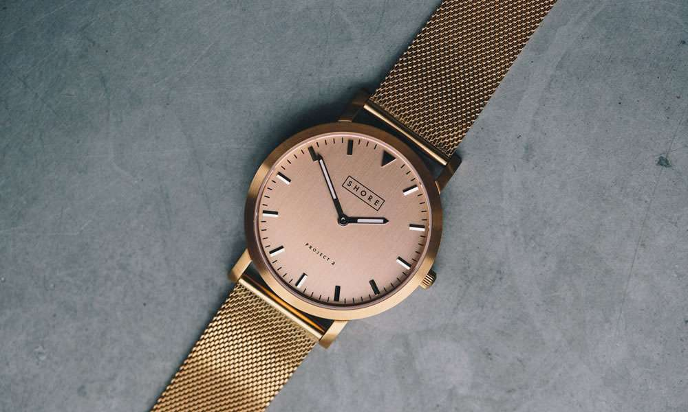 shore projects gold watch men