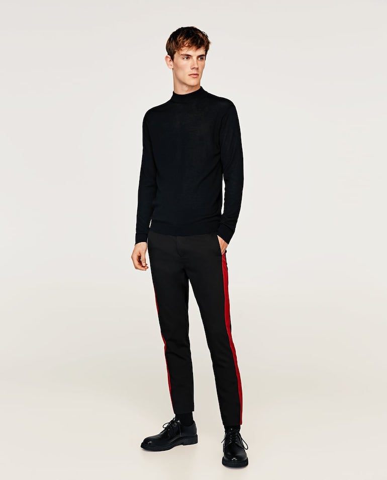 side stripe trousers turtle neck jumper mens