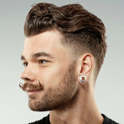slicked back curly hair for mens