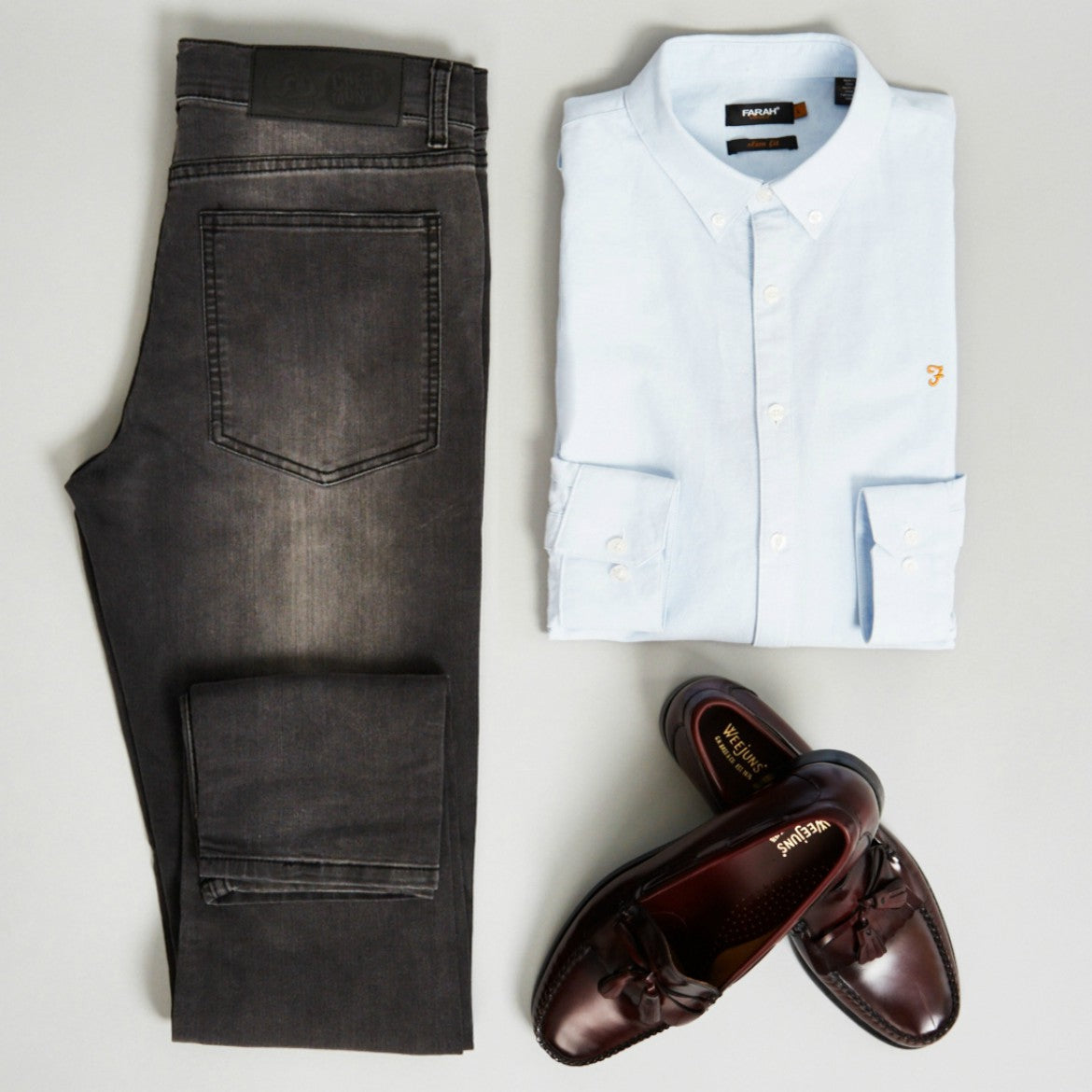 idle man blazer and denim shirt