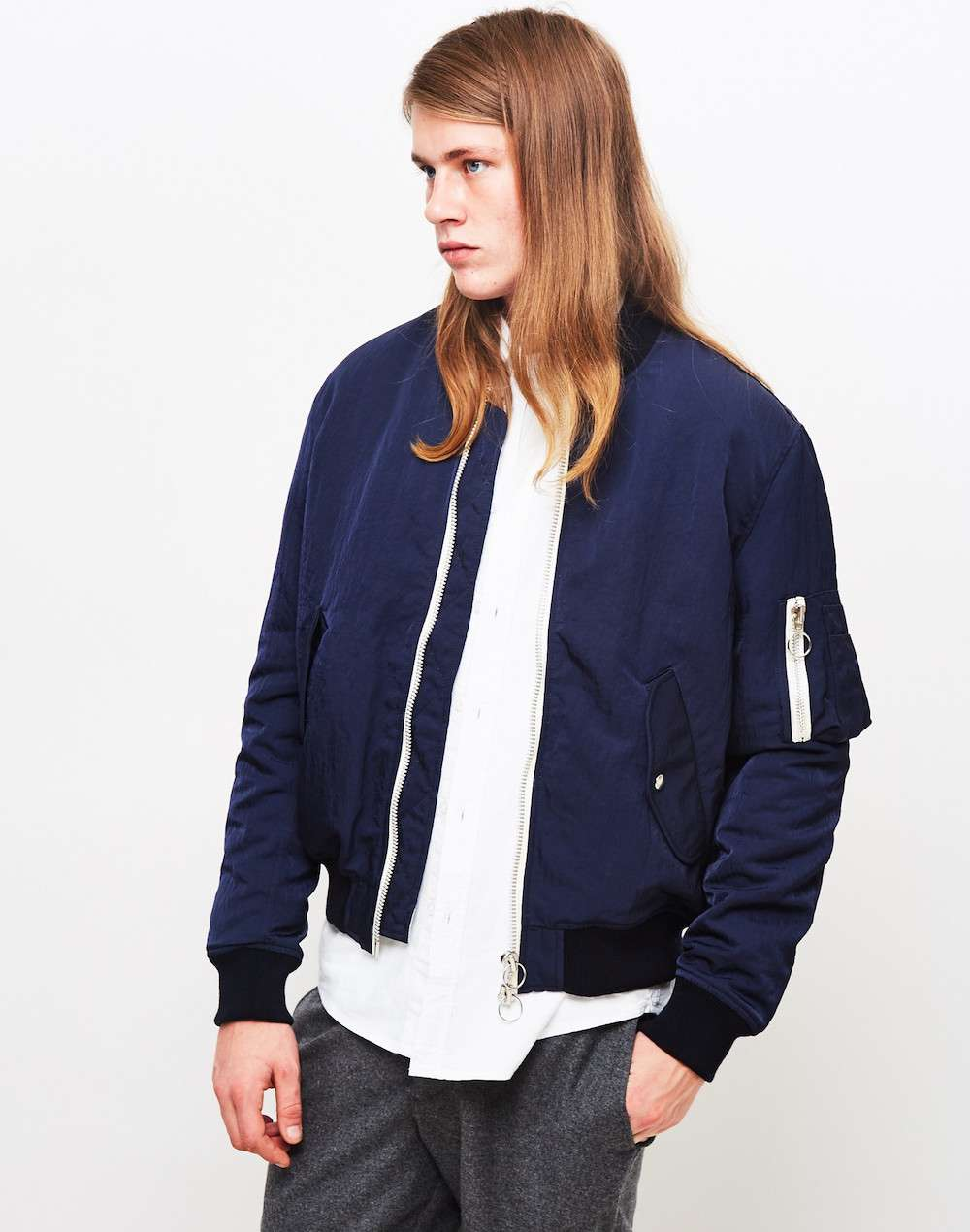 soulland blue bomber jacket for men