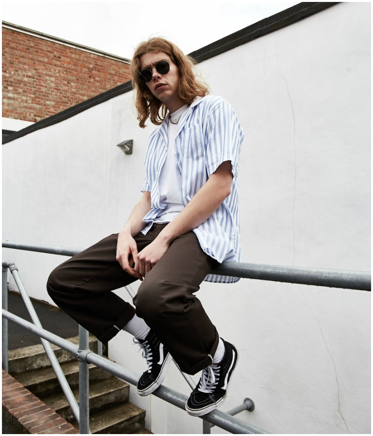 southern california mens street style green trousers striped shirt vans