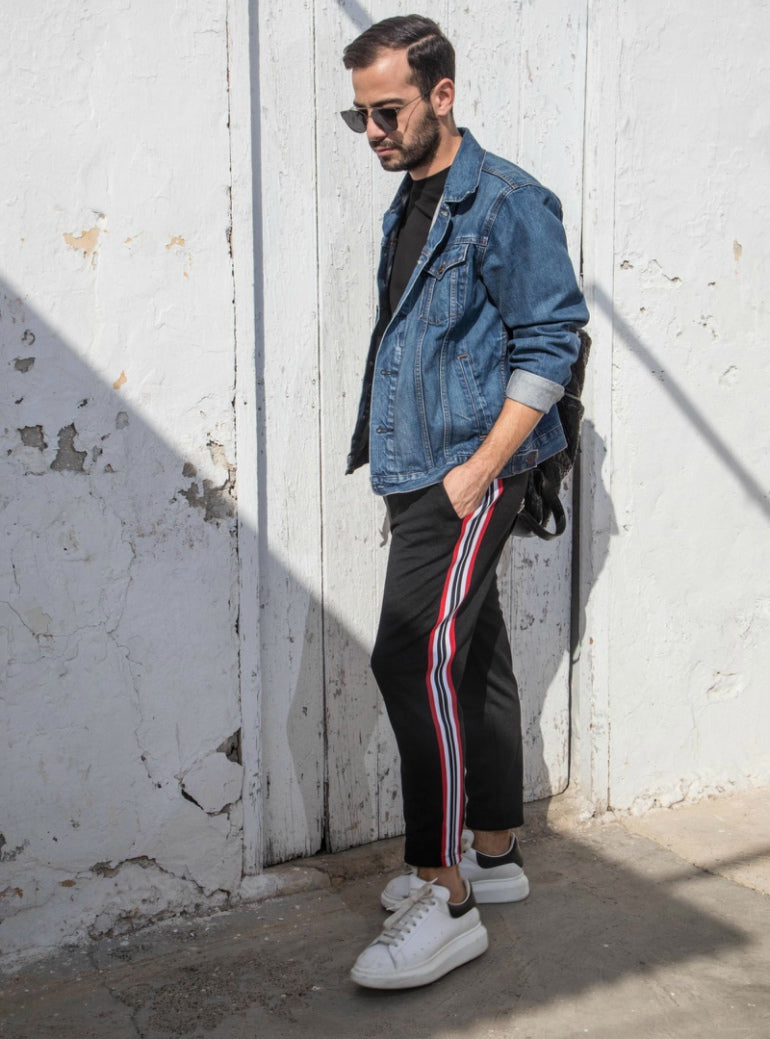 striped joggers denim jacket mens street style