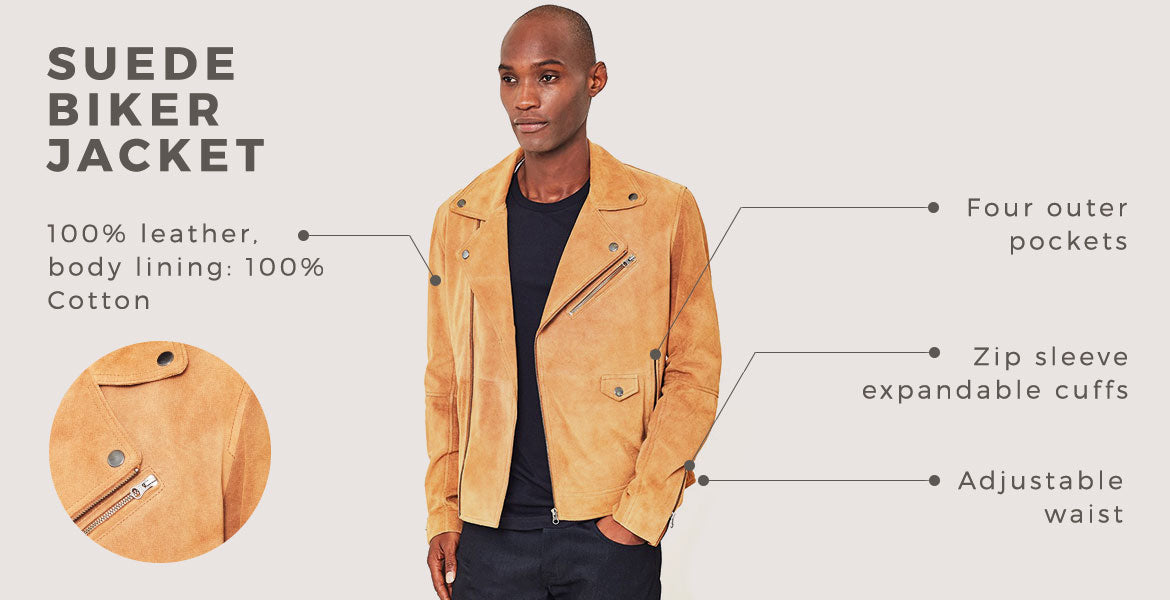 the idle man suede biker jacket for men
