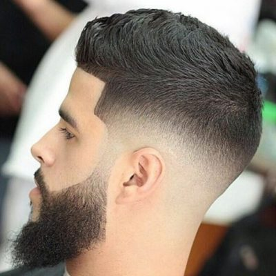tapered sideburns beard and black hair mens