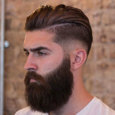 mens tapered sideburns big beard and dark brown hair mens