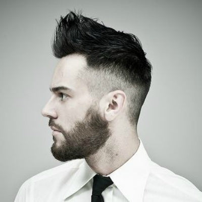 tapered sideburns black spikey mens hair