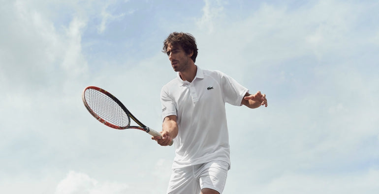 tennis player white lacoste polo shirt men