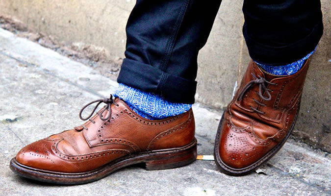 mens textured socks brown shoes