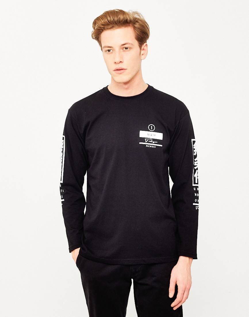 the idle man asian long sleeve t-shirt black