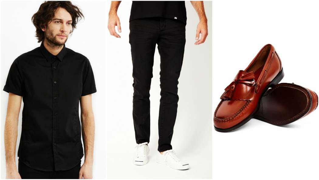 the-idle-man-black-shirt-black-jeans-red-loafers-outfit-grid