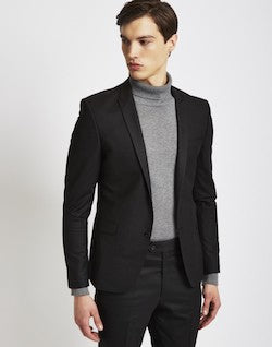 the idle man black skinny fit suit jacket for men