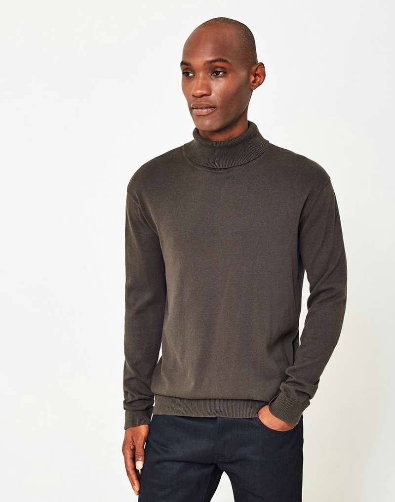 THE IDLE MAN High Roll Neck Jumper Green mens