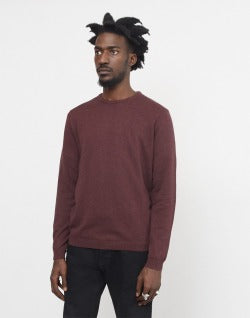 The Idle Man Knitted Crew Neck Jumper Burgundy