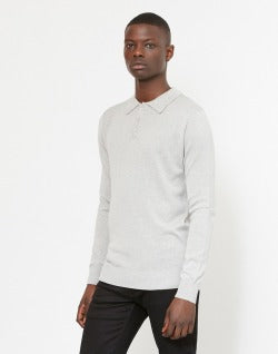 The Idle Man Long Sleeve Knitted Polo Grey