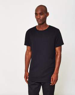 the idle man mens longline t-shirt black