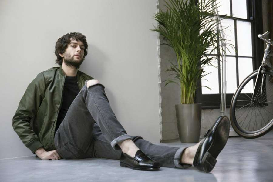 the-idle-man-lookbook-green-bomber-jacket-black-jeans-and-penny-loafers-1024x683