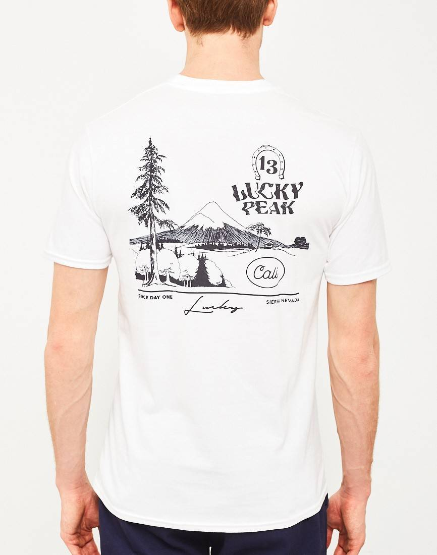 the idle man lucky peak t shirt white