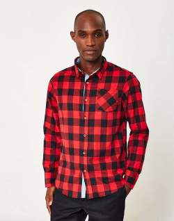 the idle man red plaid shirt mens