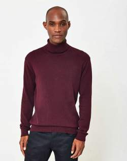 the idle man roll neck red mens