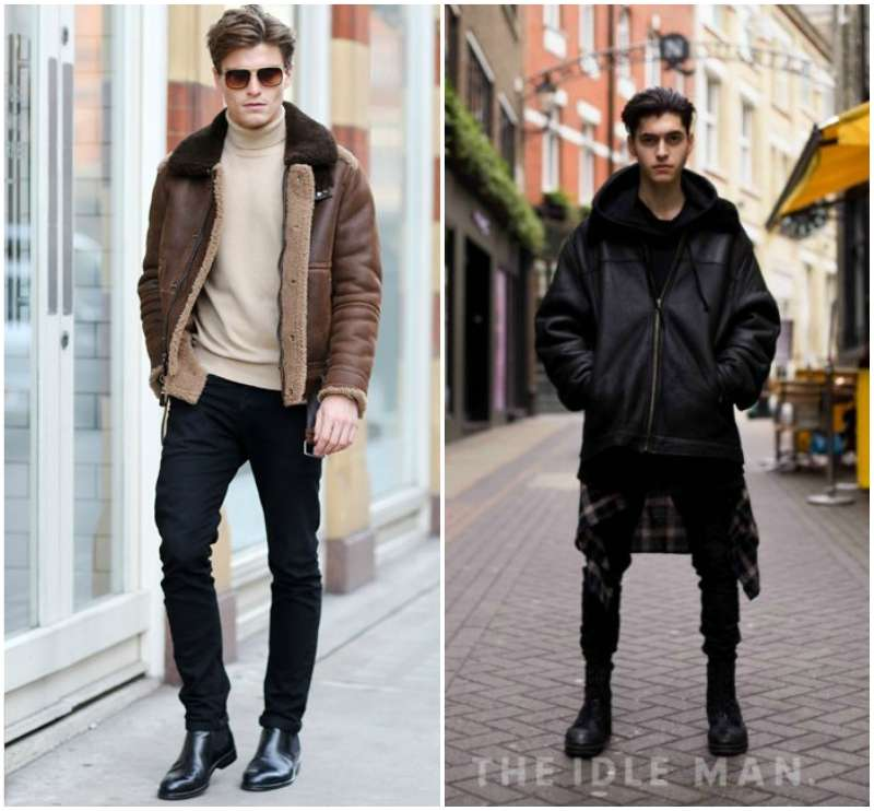 the idle man mens street style shearling jacket