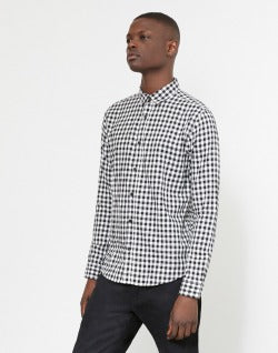 The Idle Man Small checked shirt black and white
